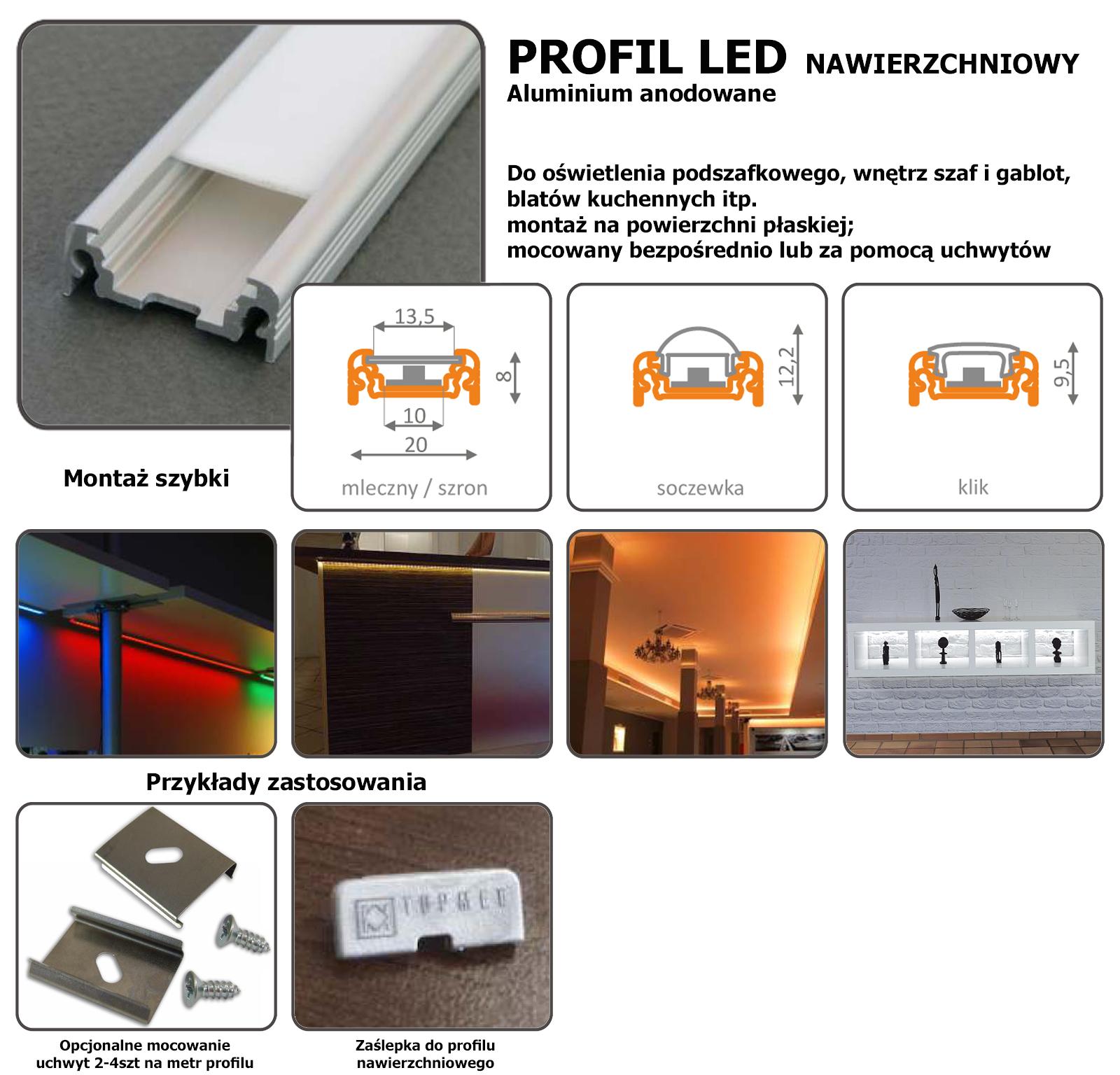 profil aluminiowy nawierzchniowy 1 metr szybka mleczna. Black Bedroom Furniture Sets. Home Design Ideas