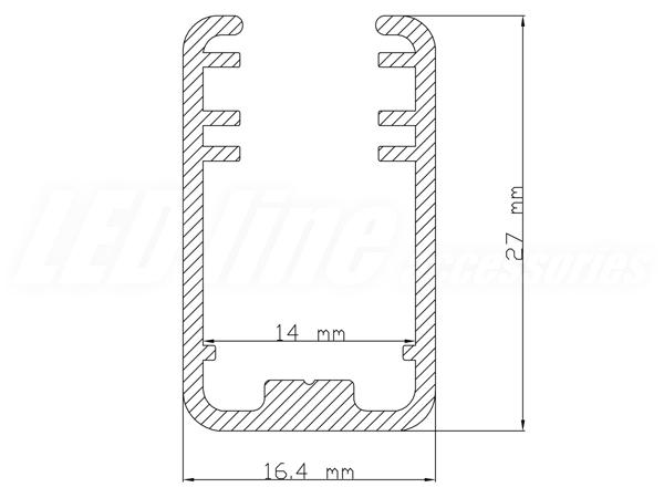 profil alluminium sur verre 8 mm pour ruban led ledin. Black Bedroom Furniture Sets. Home Design Ideas